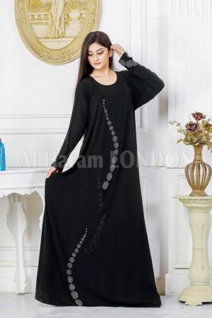 Embellished Jersey Black Abaya - 20055