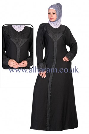 Woven Lace Nida abaya - 30008