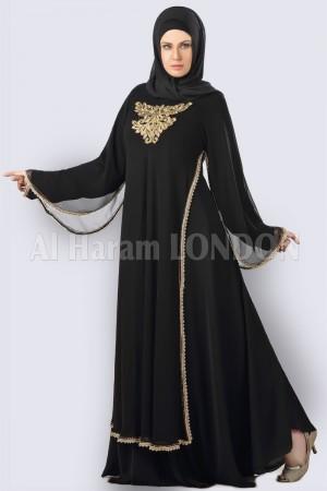 Golden Chiffon Lacey Abaya - 30260