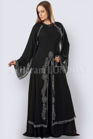 Double Layer Slit Abaya - 30265