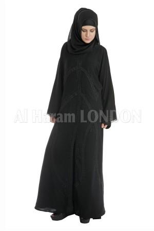 Bell Sleeves Black Woven  Abaya - 30080