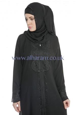 Front Zip Closure  Lace Abaya - 30093
