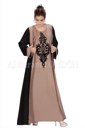 Velvet Deco Jacket Style Nida Abaya - 30107