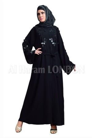 Front Black Handwork Designer Nida Abaya - 30111