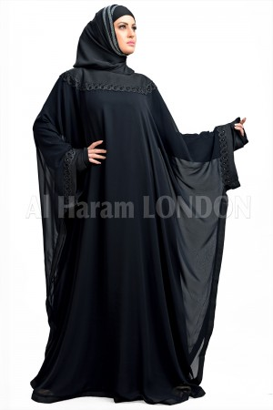 Black Bat sleeves Chiffon Abaya  30116