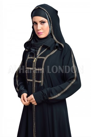 Contrast  Bordered Black Abaya - 30119