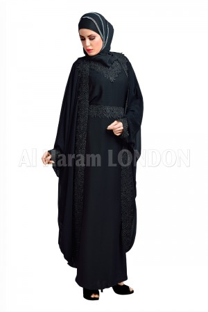 Black Double Layered Abaya 30133