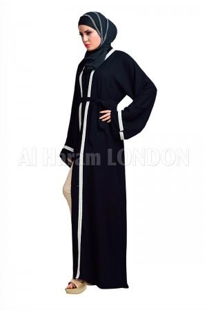 Vertical White Lined Abaya-30135