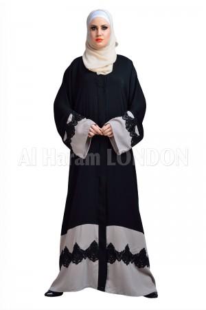 Grey Black Lace Nida Abaya - 30142