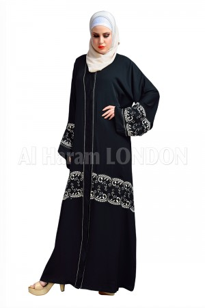 Front Open Black Nida abaya - 30144