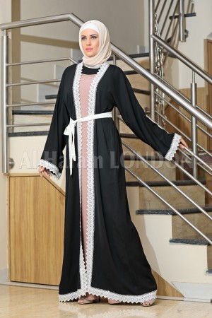 Front Open Lacey Abaya - 30165