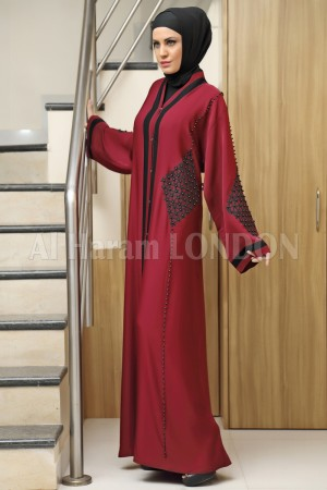Black Beaded Maroon Abaya 30167