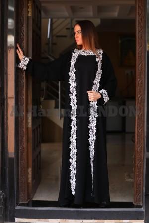 Kimono Style Lacey Abaya - 30182