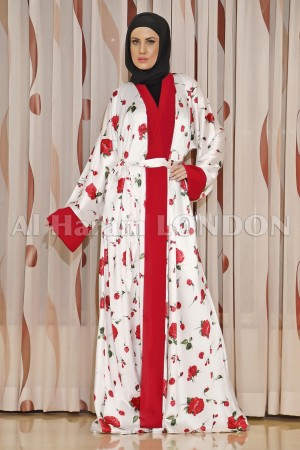 Colourful White Red Clearance Abaya 30185