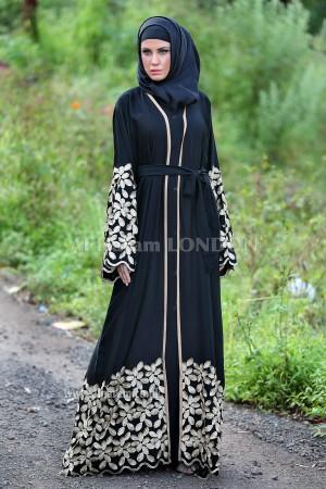 Golden Embroidered Abaya - 30186