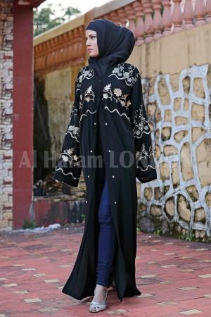 Embroidered Designer Black Abaya - 30189