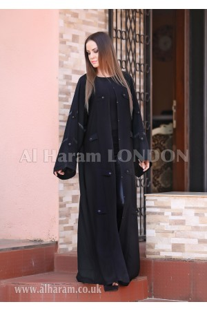 Buttons Folds Luxury  Abaya - 30219