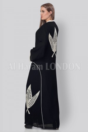 Front & Back Embroidered Pine Abaya - 30231