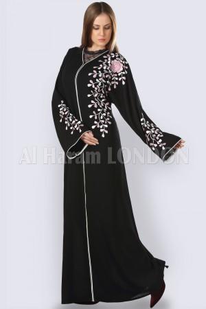 Top embroidered Black  Abaya -30246