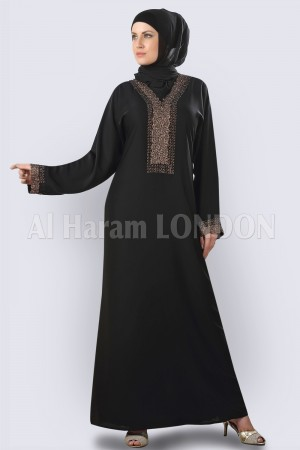 Copper Embroided Abaya - 30264