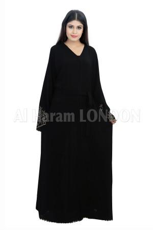 Designer sleeves Black Nida Abaya - 30287