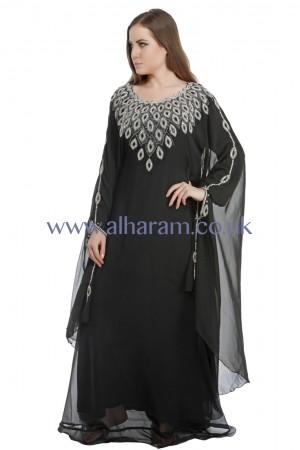 Black Dangling Motif Farasha Kaftan-40060