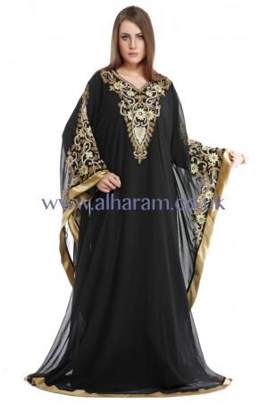 Black Fall Sleeves Farasha Kaftan-40155