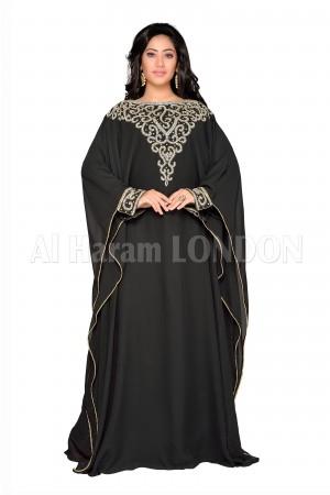 Black Embroidered Farasha Kaftan-40206