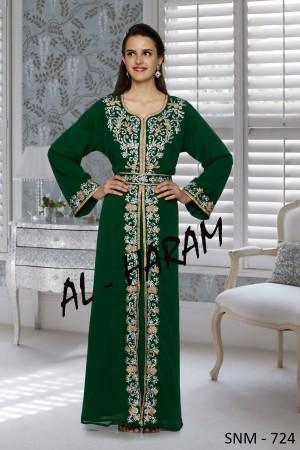 Belted Green Farasha Kaftan-40214