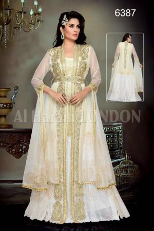 Beige white Designer Farasha Kaftan-40240