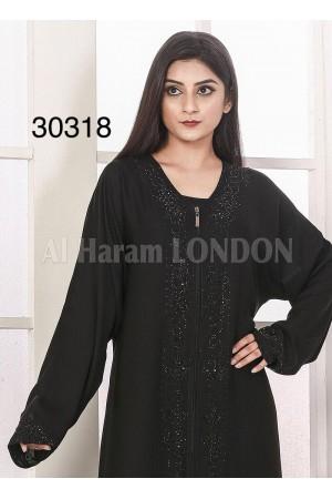 Diamante Lining Black Abaya - 30318