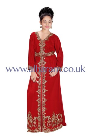 Colourful Golden work Girls Farasha 70047