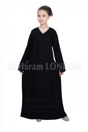 3 Lined Border Girls Abaya 70066