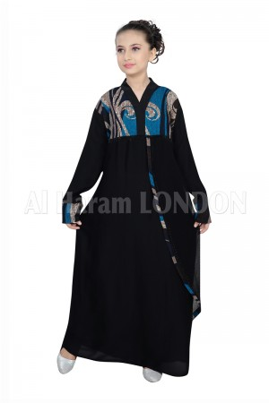 Abstract Front Girls Abaya 70067