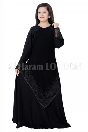 Black Umbrella Designer Girls Abaya 70076