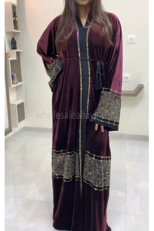 Velvet-Fine Nida Fabric Net-Chiffon Diamante Stonework Abaya - 30339
