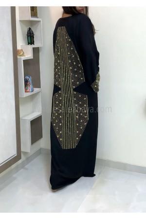Premium Nida Fabric Diamante Stonework Abaya - 30352