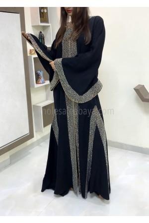 Motif Premium Nida Fabric Diamante Stonework Abaya - 30354