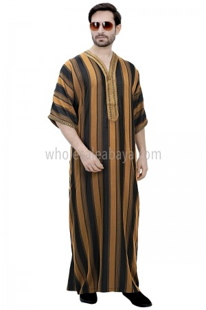 Moroccan Stripped Men's Thoube Half Sleeve 90040 ST