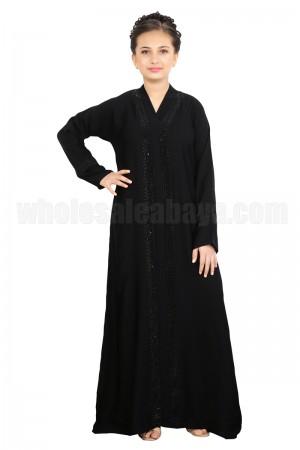 Amiable Stylish Stonework Premium Nida Fabric, Daimante Stonework Abaya - 70088