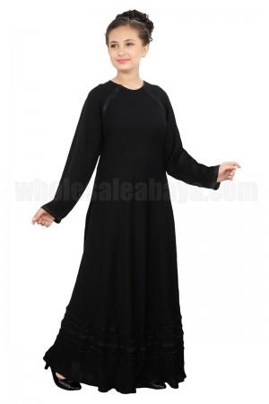 Elicit Dubai Nida Fabric, Motif Strips Abaya - 70089