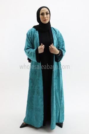 Front Open Abaya Embossed Velvet with Nida Belt 50011