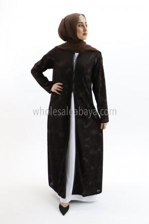 Front Zip Open Velvet Abaya 50012