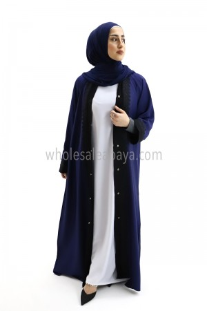 Nida Navy Kimono Style Lace Abaya 30108