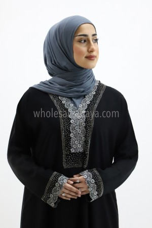 Nida Silver Stonework Embroided Abaya 30264