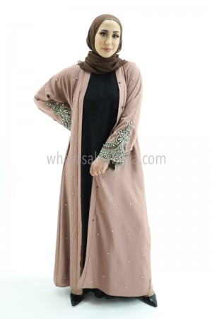 Shinny Lace and Pearl Work Dusty Pink Abaya 30313 B
