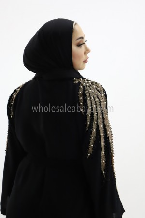 Designer Dubai Abaya with Lace and Pearl Work 30367