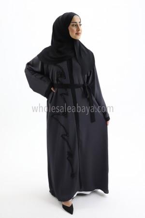 Designer Grey Nida fabric Handwork Open Abaya 30403