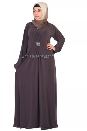 Clearance Women Jersey Abaya with Broach 20034
