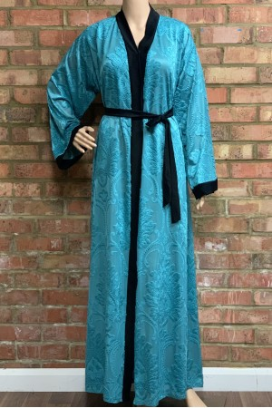 Front open Abaya. Fabric embossed Velvet with Nida belt - 50011